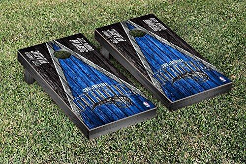 Orlando Magic NBA Basketball Regulation Cornhole Game Set Triangle Weathered Version by Victory Tailgate