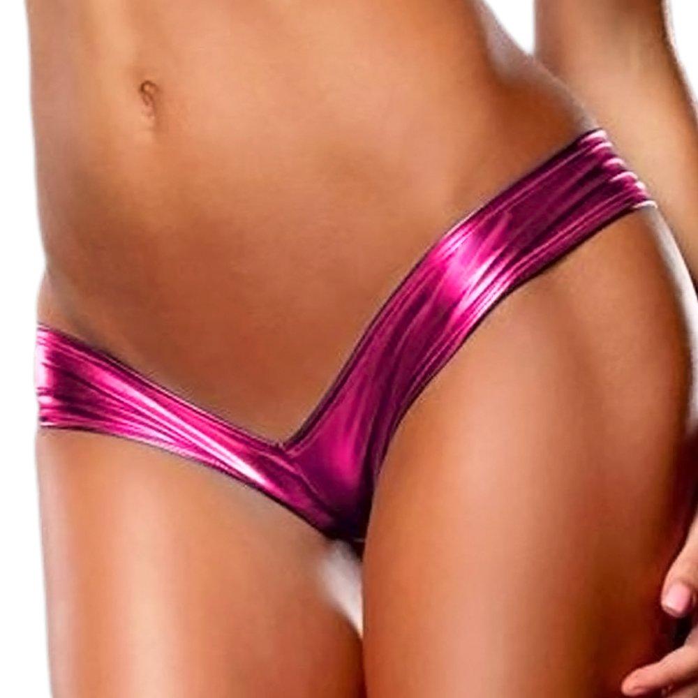 IWEMEK Women's Shiny Metallic G String Thongs Low Rise Bikini Bottom Lingerie Micro String Shorts T-Back Underwear Panty