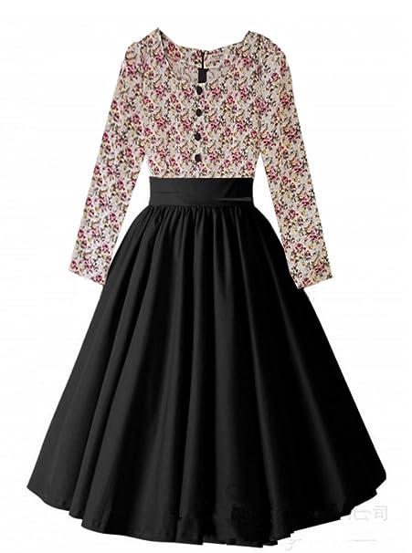 I-CURVES donna vintage Audrey Hepburn floreale anni  50 e  60 cocktail  retrò rockabilly swing Butlins vestito da carnevale (42 c200e61a914