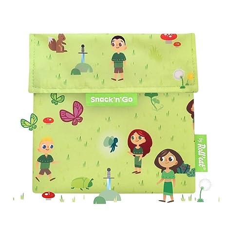Rolleat - SnacknGo Kids - Bolsa Merienda Porta Snacks Infantil Ecológica y Reutilizable sin BPA | Funda Porta Sandwich, Unisex, Diseño Forest
