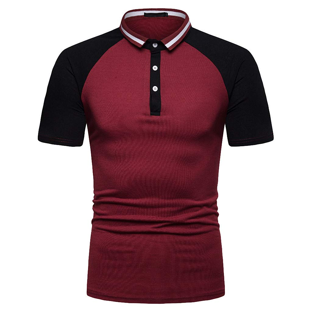 Fashion Men's Casual Mixing Colour Slim Fit Short Sleeve Sports Shirt Top Blouse Red