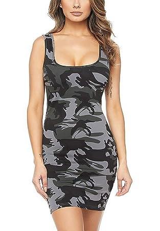 Yingsssq Frauen Sexy Camouflage ärmelloses Kleid Eng Anliegend