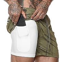 WAWAYA Hombres Transpirable de Secado rapido Estilo Running Gym Shorts de Cintura Elastica