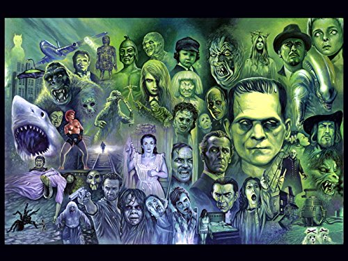 Classic Retro Horror Movies Characters Painting Art 24x18 Print Poster