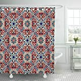 Emvency Fabric Shower Curtain with Hooks Blue Moroccan Detailed Persian Carpet Colorful Arabian Classic Abstract Aged Ancient 60''X72'' Decorative Bathroom Treated to Resist Deterioration by Mildew