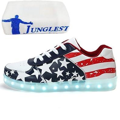 (Present:kleines Handtuch)Schwarz EU 38, JUNGLEST® mit Unisex Sportschuhe Fluorescence LED-Licht Stern Snea