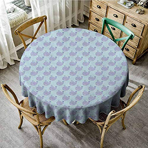 ScottDecor Tassel Tablecloth Whale Cartoon Animal with Smile and Swirled Design Inhabitants of The Deep Ocean Theme Muave Baby Blue Garden Round Tablecloth Diameter 54