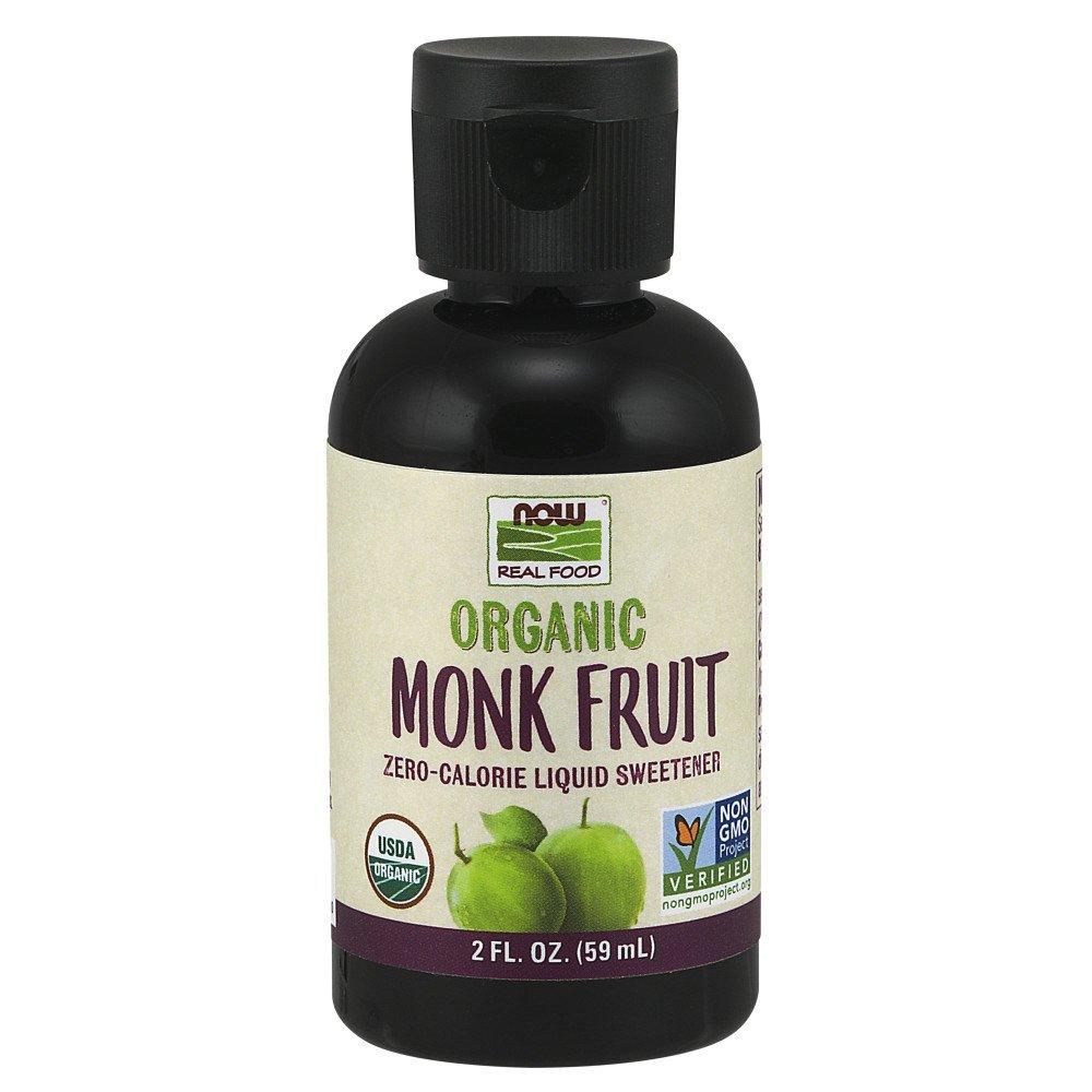NOW Foods, Certified Organic Monk Fruit Liquid, Zero-Calorie Liquid Sweetener, Non-GMO, Low Glycemic Impact, 2-Ounce