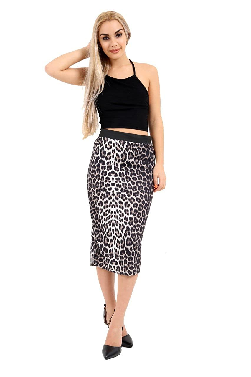 c1d138ba2 Ladies Leopard Animal Print Jersey Midi Pencil Skirt UK Size 8-26 (Browns,  S/M (UK 8-10)) at Amazon Women's Clothing store:
