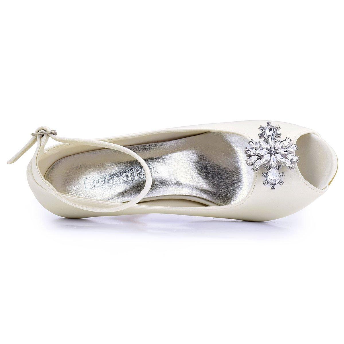 ElegantPark AK Wedding Dress Clutch Double Rhinestones Flowers Silver Shoe Clips 2 Pcs by ElegantPark (Image #4)