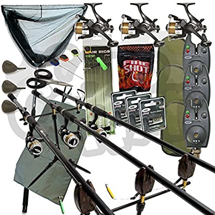 Amazon.com : Full Carp fishing Set Up Complete With 3x Rods ...