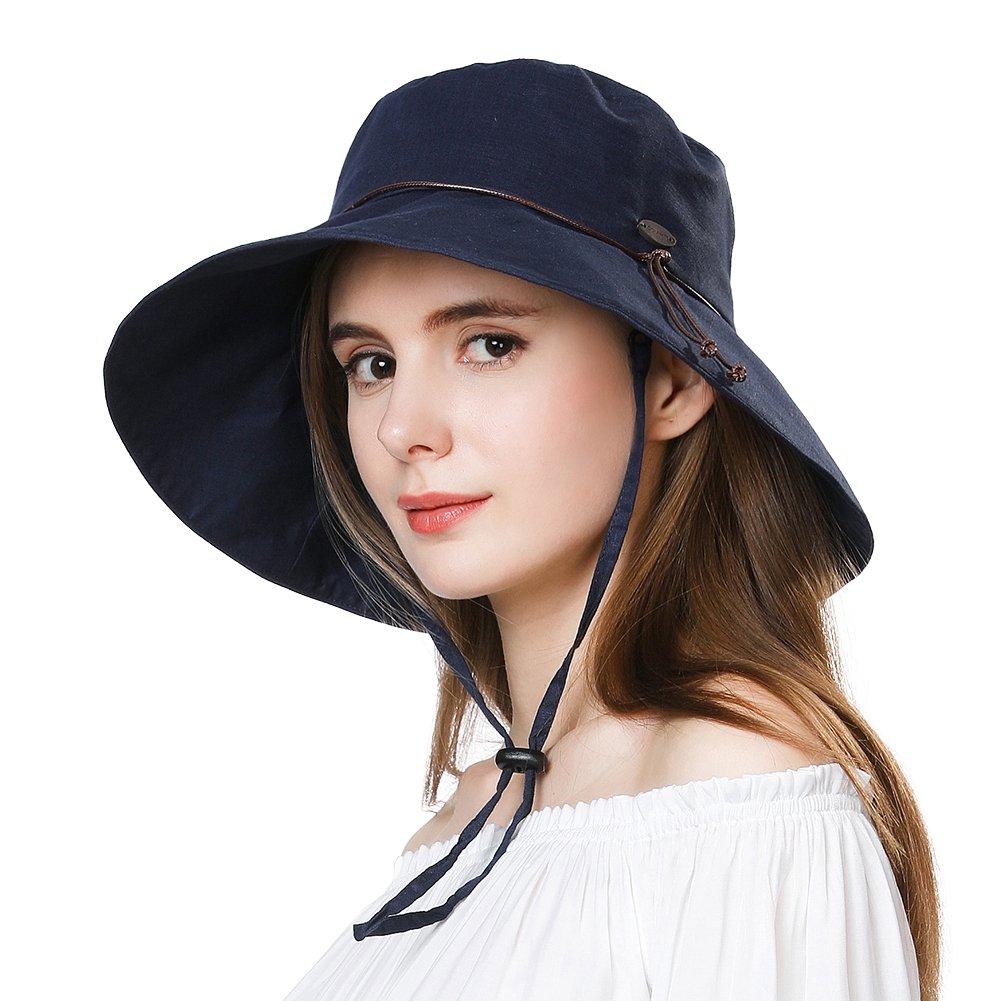 Summer Hat for Women Wide Brim Sun Protection Foldable Beach Safari Hat Cotton UPF Navy SiggiHat