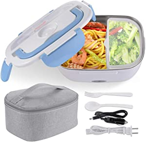 Yescom Electric Lunch Box 1.5L Portable Food Grade 304 Stainless Steel Container Car Food Warmer Lunch Heater Spoon Blue