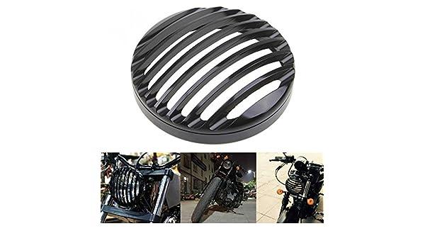 /2014/Harley Sportster XL 883/1200 Anay negro 5/3//4/Aluminio motocicleta faros parrilla cubierta para 2004/