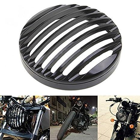"Anay negro 5 3/4 ""Aluminio motocicleta faros parrilla cubierta para 2004 –"