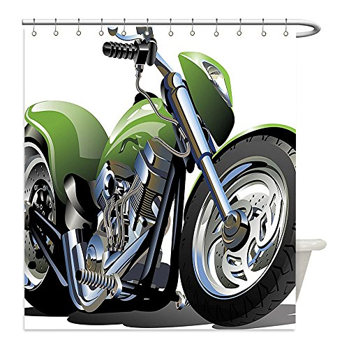 Supreme Zebra Print Rug (Liguo88 Custom Waterproof Bathroom Shower Curtain Polyester Motorcycle Decor Collection Motorcycle Design with Fancy Supreme Gears and Metal Tires Action Urban Lifestyle Green Silver Decorative bathr)