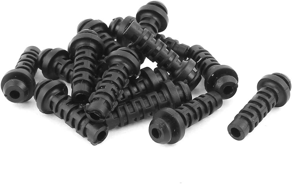 uxcell 15 Pcs Rubber Strain Relief Cord Boot Protector Wire Cable Sleeve Hose 25mm Long