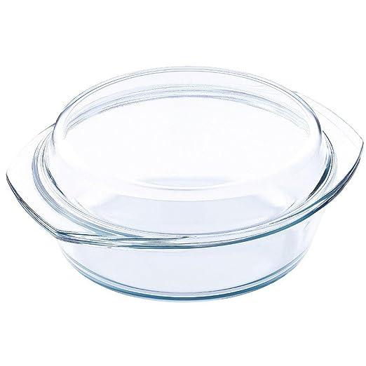 Blaumann - Fuente redonda con tapa para horno y microondas, vidrio ...