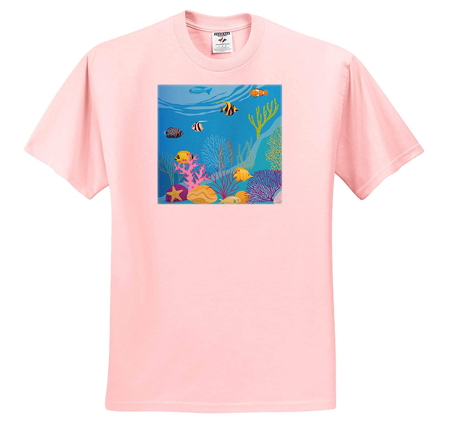 T-Shirts 3dRose Sven Herkenrath Animal Cute Image of Marine Life Colorful Fishes and Plants