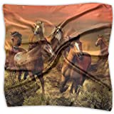 Desert Sunset Brown Horse Women's Fashion Print Square Scarf Neckerchief Headdress S