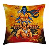 Ambesonne Ethnic Throw Pillow Cushion Cover, Ethnic Festival Poster Inspired Design Holy Figures Mighty King Lord Arrows and Bow, Decorative Square Accent Pillow Case, 24 X 24 Inches, Multicolor