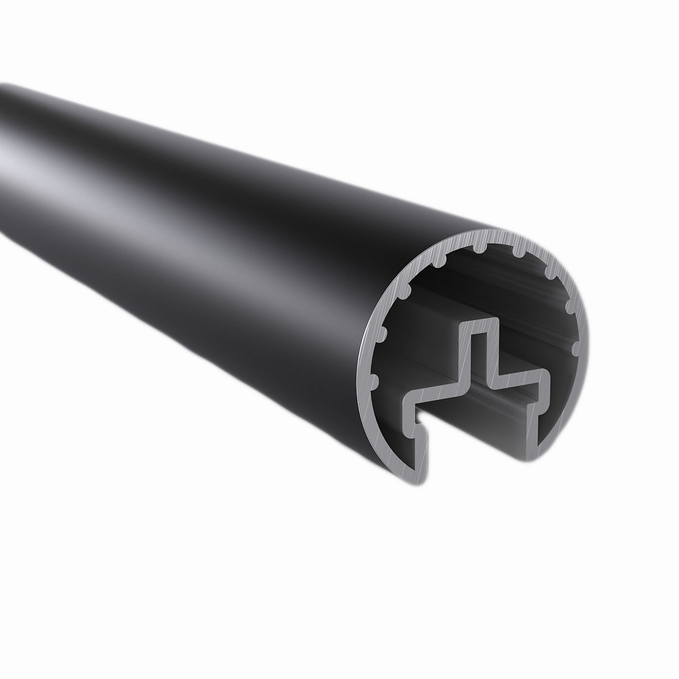 2 ft. Handrail Tubing, 1.6'' Round, Satin Black Anodized Aluminum, for Promenaid Handrail System Only