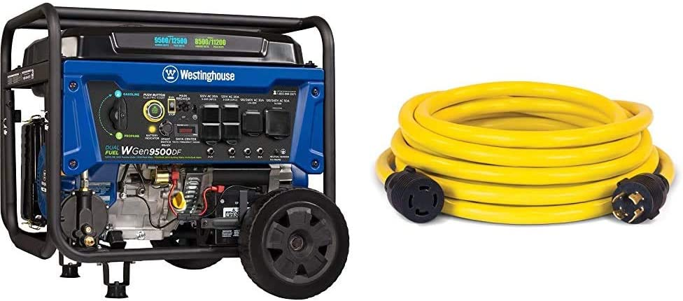 Westinghouse WGen9500DF Dual Fuel Portable Generator-9500 Rated 12500 Peak Watts Gas & Champion 25-Foot 30-Amp 250-Volt Generator Power Cord for Manual Transfer Switch (L14-30P to L14-30R)