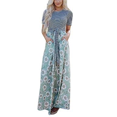 Maxikleider Damen Sommer Huihong Womens Floral Streifen Tank Kleider  Kurzarm Casual Lange Kleid Urlaub Kleider mit Tasche  Amazon.de  Bekleidung 5926e95ea4