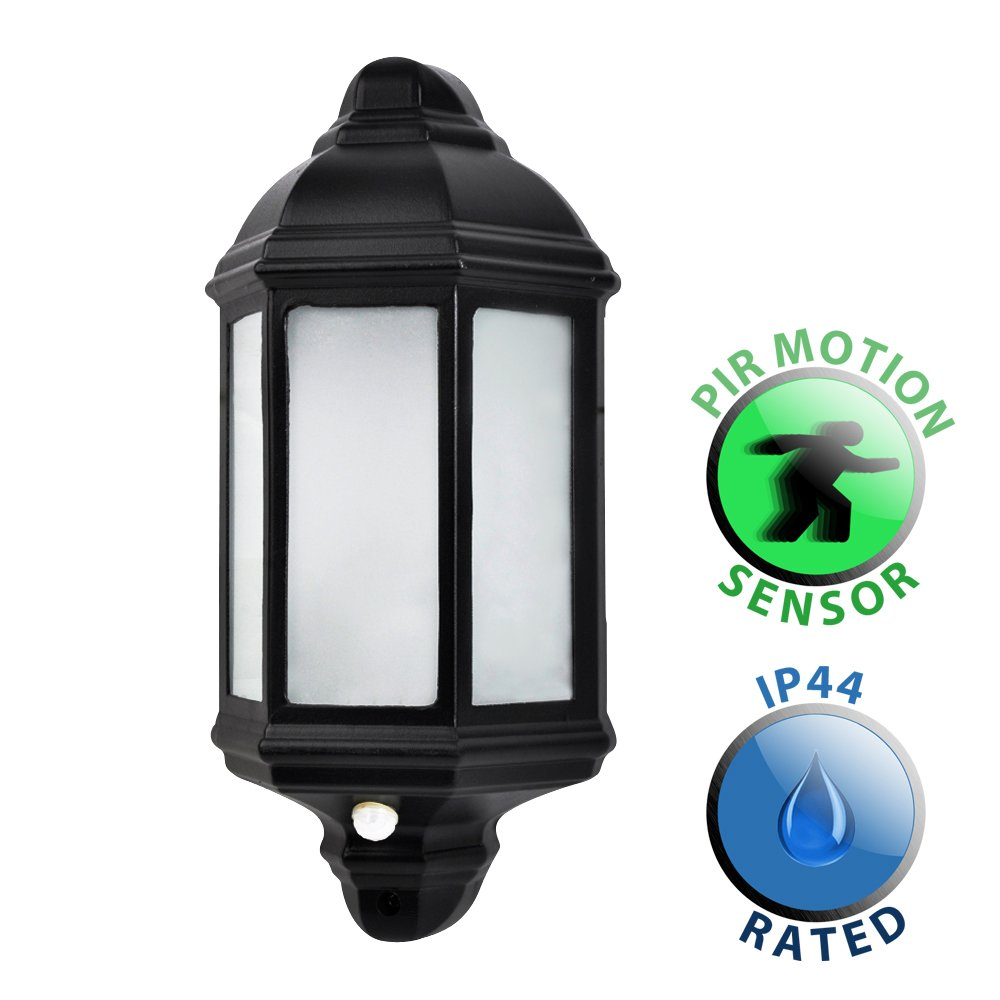 Traditional Black Aluminium PIR Motion Sensor Outdoor Garden Wall Lantern IP44 Light