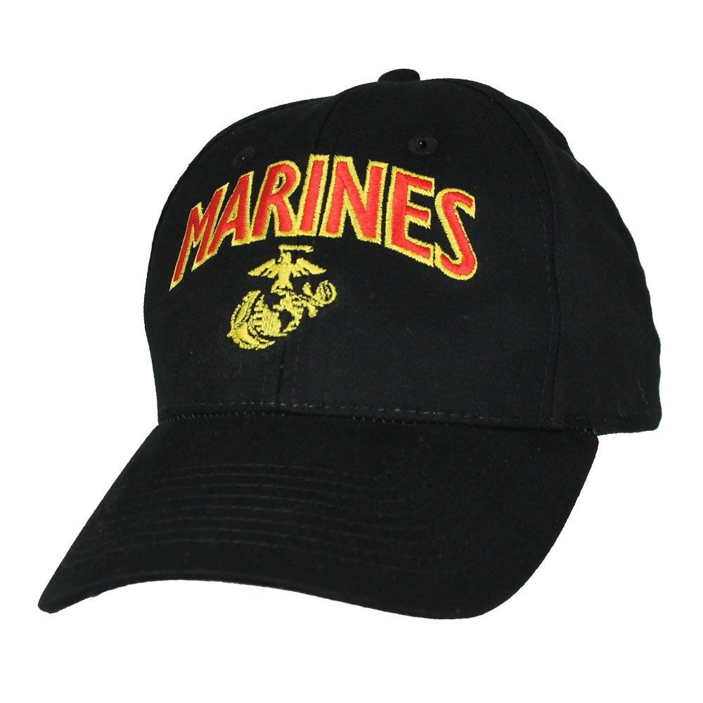 2f339a208cbac Amazon.com  Eagle Crest US Marine Corps Black Anchor Globe Military Ball Cap   Clothing