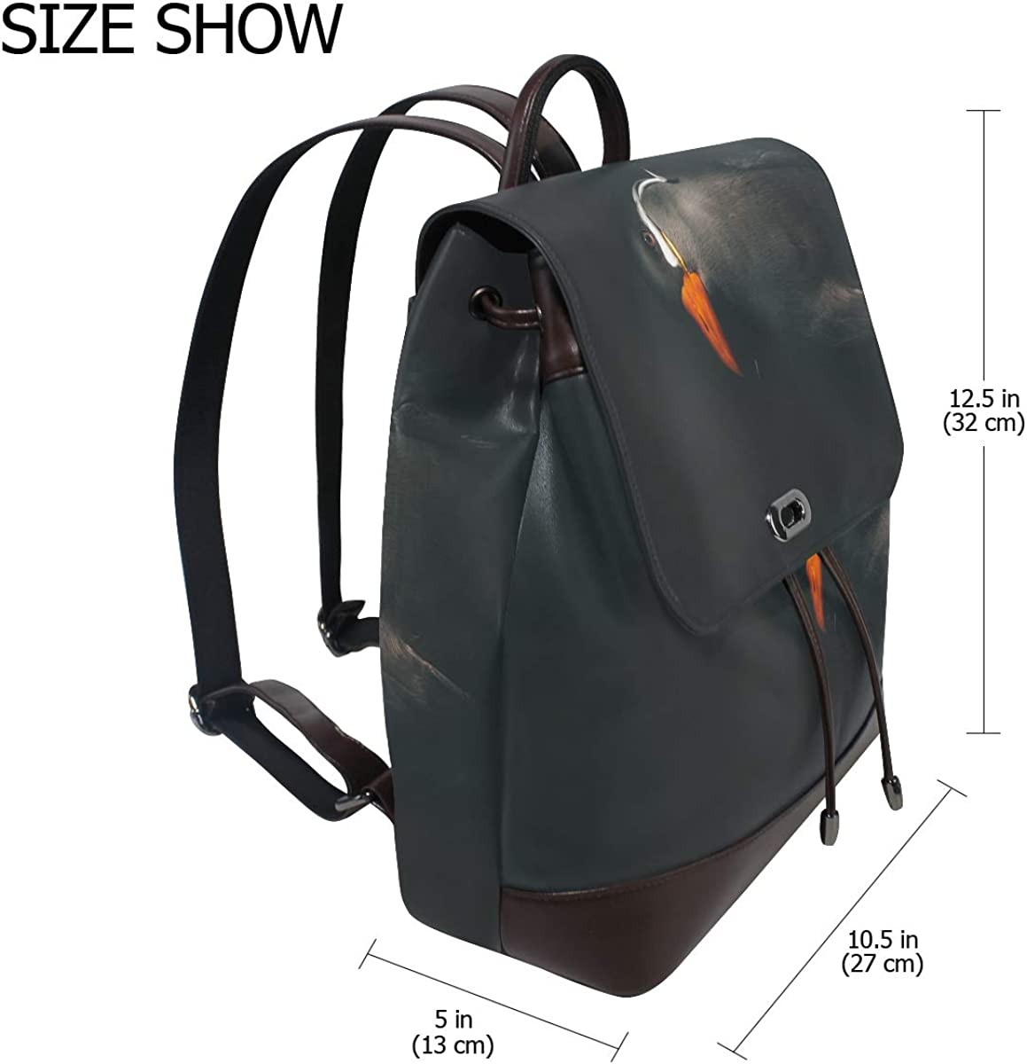 PU Leather Shoulder Bag,Penguine Art Backpack,Portable Travel School Rucksack,Satchel with Top Handle