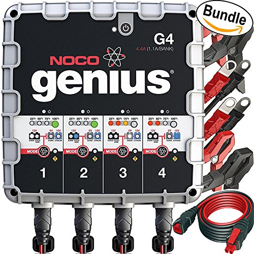 NOCO Genius G4 6V/12V 4.4A 4-Bank UltraSafe Smart Battery Charger & NOCO Genius GC004 10' Extension Cable (Bundle) (Lithium Ion Deep Cycle compare prices)