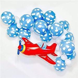 Airplane Birthday Party Supplies   Aviator Theme Decorations Balloon Garland Set