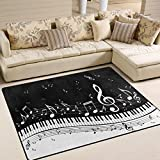 ALAZA Abstract Piano Music Note Black Area Rug Rugs for Living Room Bedroom 7' x 5'