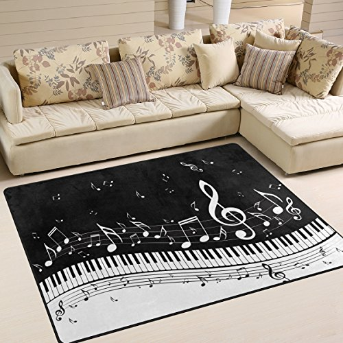 ALAZA Abstract Piano Music Note Black Area Rug Rugs for Living Room Bedroom 5'3 x ()