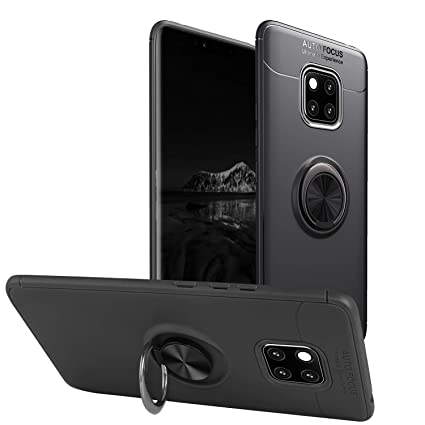 Newseego Compatible with Huawei Mate 20 Pro Case,360 Degree Adjustable Ring  Stand, Frosting Thin Soft Shockproof Protective and Ring Holder Metal
