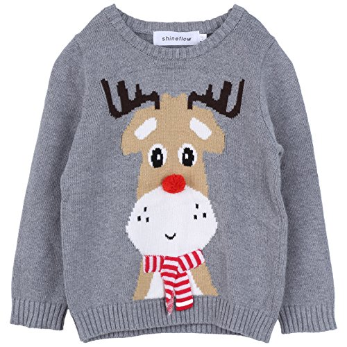 - Shineflow Children Kids Rudolph Reindeer 3d Red Nose Ugly Christmas Sweater Jumper (1Y)