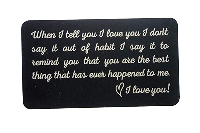 Romantic Gifts for Him- Engraved Metal Wallet Inserts – Gift Ideas for Boyfriend, Anniversary