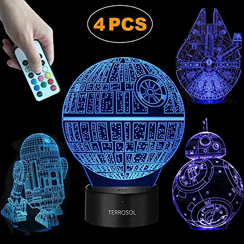 Terrosol 3D Star Wars Lamp - Star Wars Gifts - 4 Pattern&1 Base&1 Remote - Star Wars R2-D2/Bb8/Death Star/Millennium Falcon - Star Wars Light - Star Wars - Optical Illusion Led Light - Star Wars Lamp