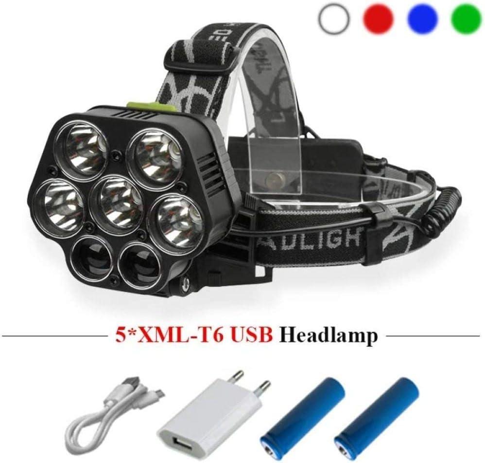 LIMQ Scheinwerfer Blaulicht Xml T6 LED-Scheinwerfer 18650 Wiederaufladbarer Scheinwerfer Jagdlaterne Scheinwerfer USB-LED-Lampe Stirnlampe