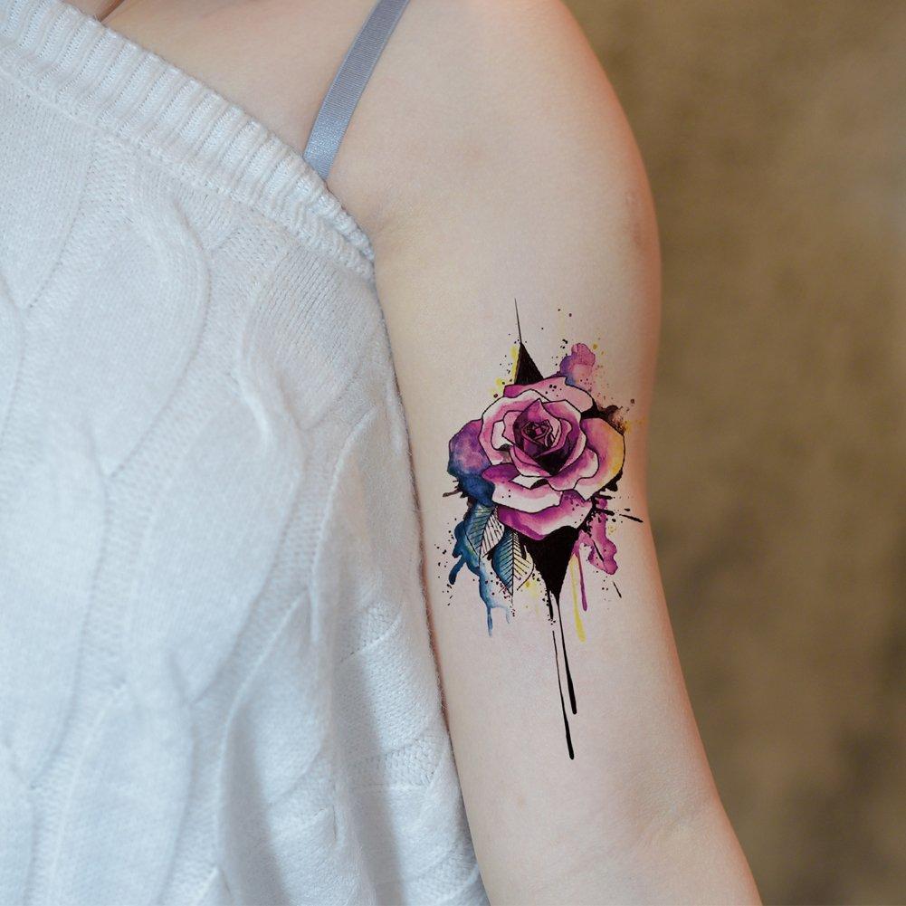 TAFLY Flor Rosa Fake Sexy Body Art Tatuaje Temporal Pegatinas para ...