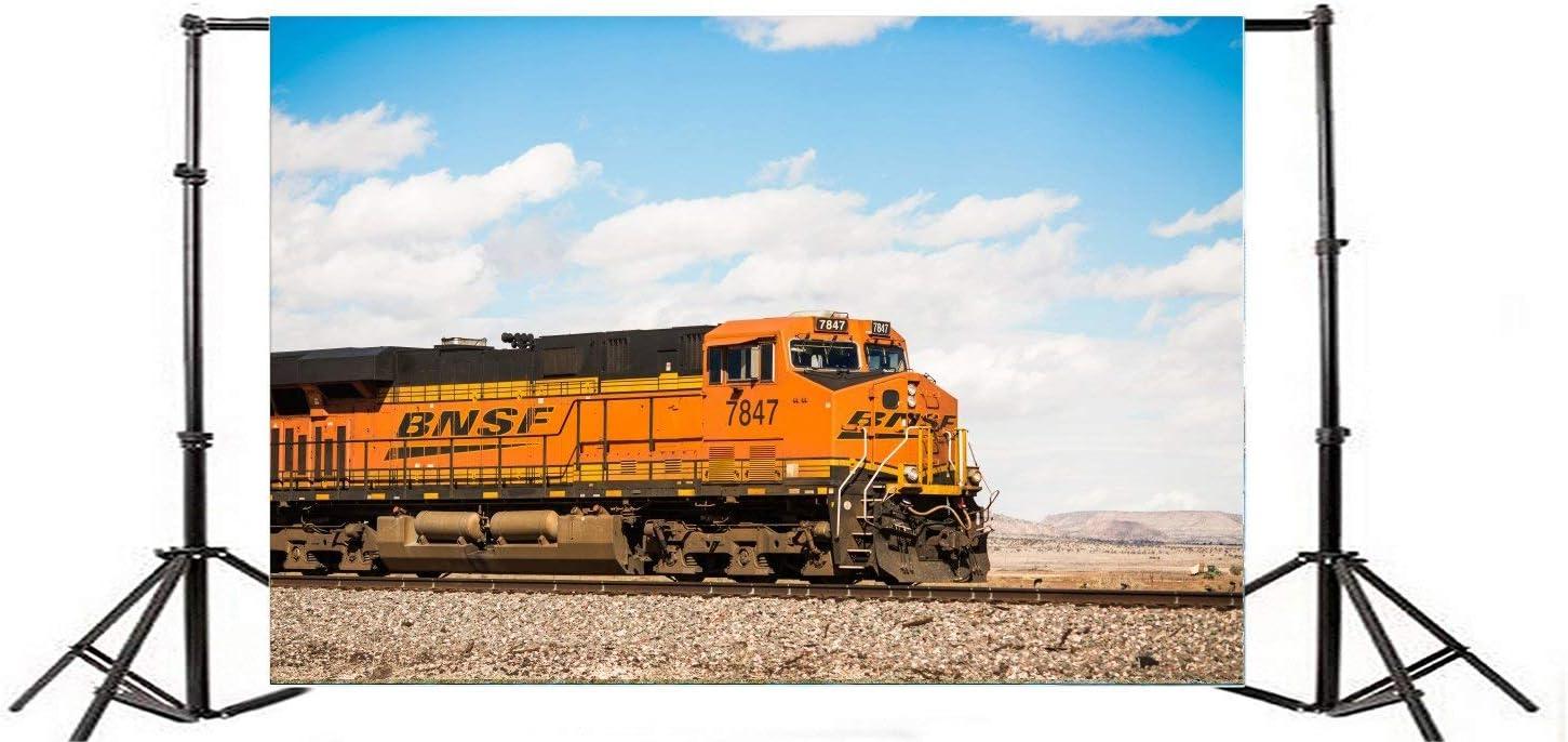 9X6FT Vinyl Photography Backdrop Locomotive Vintage Old Train Railroad Tracks Blue Sky White Cloud Nature Travel Background Kids Children Adults Photo Studio Props