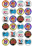 """24x 50th Birthday Mix 1.5"""" (3.8cm) PRE- CUT PREMIUM RICE PAPER Edible Cake Toppers"""