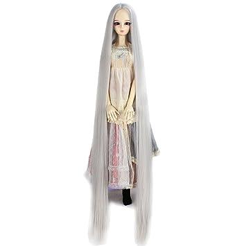 """PF 11# Cute Fashion White Straight Hair Wig 1//3 SD AOD DOD BJD Dollfie 8-9/"""""""