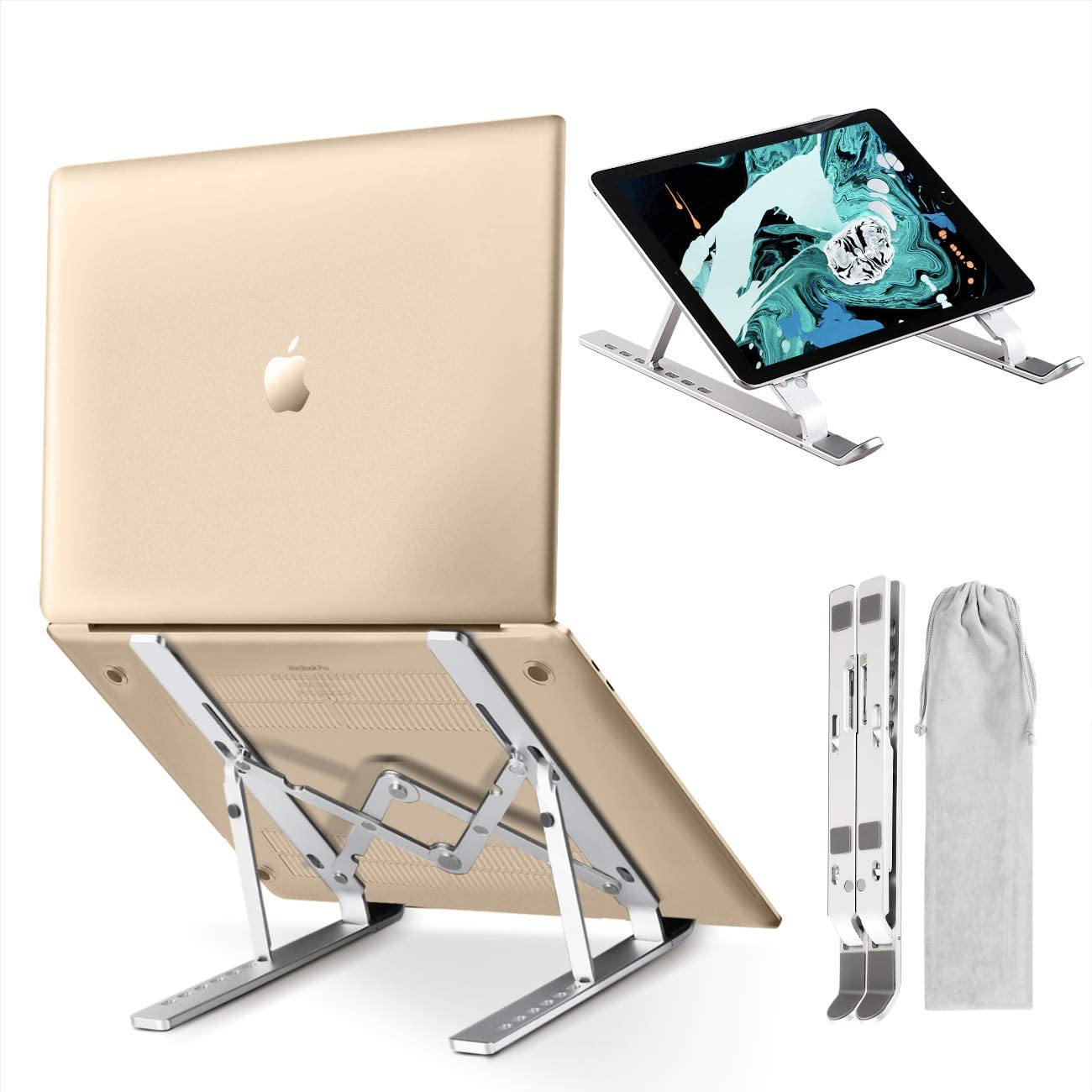 """Laptop Stand, Adjustable Ergonomic Portable Aluminum Laptop Desk Stand, Foldable Notebook Stand Laptop Holder Compatible with MacBook Air/Pro, Dell XPS, HP, Surface 10-15.6"""" Laptops and Tablets"""