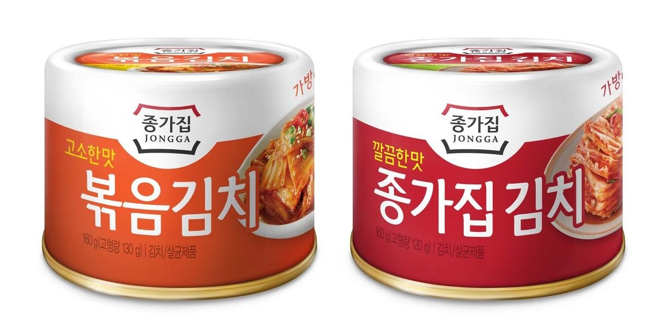 [JONGGA] Cabbage Fried Kimchi Can + Cabbage Kimchi Can / each 5.64oz(160g) / Canned Kimchi / Korean Spicy Food (1+1)