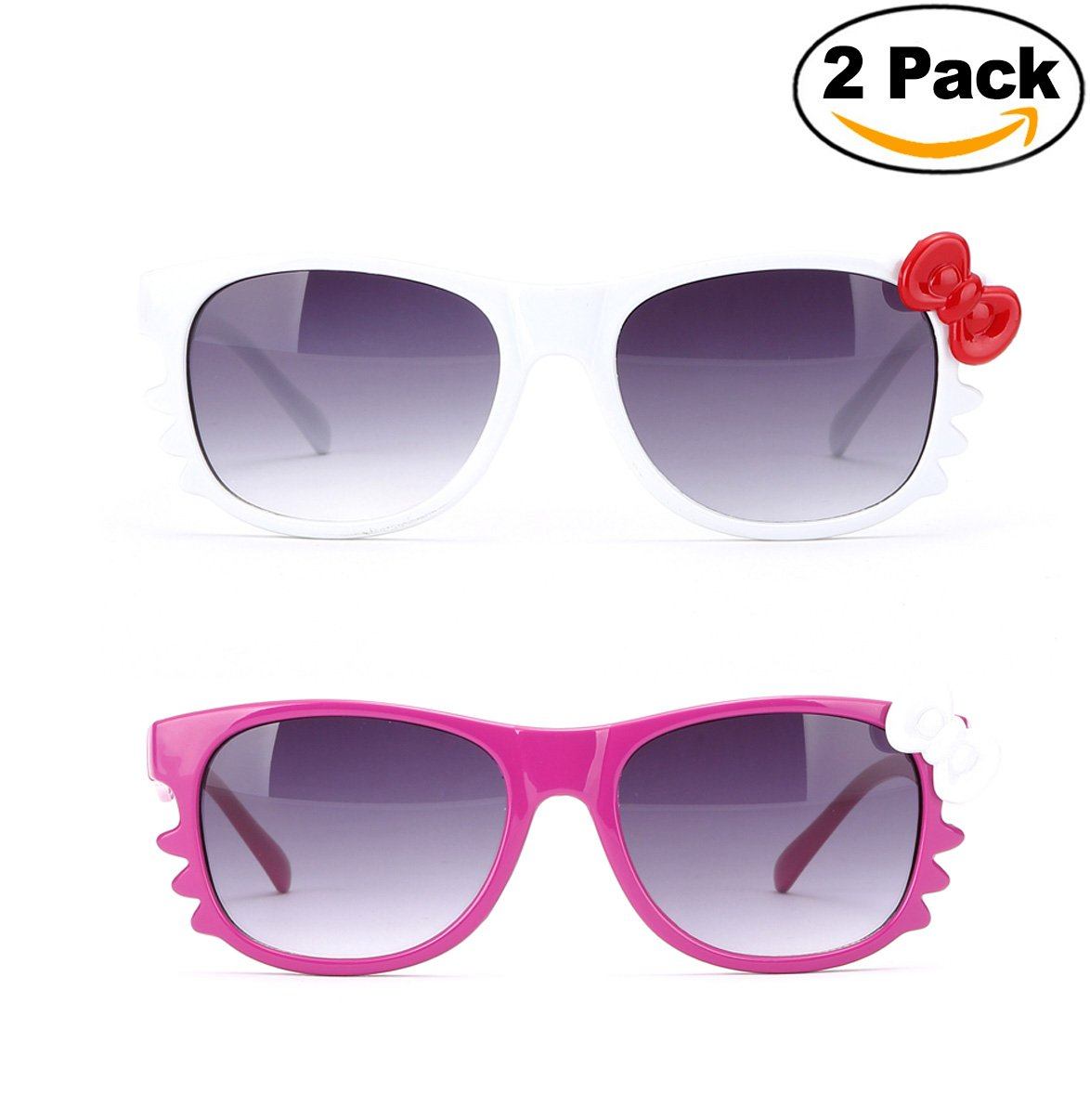 Newbee Fashion - Kyra Kids Retro Hello Kitty w/ Bow and Whiskers Lead-Free Girl Sunglasses (0-5 Years)