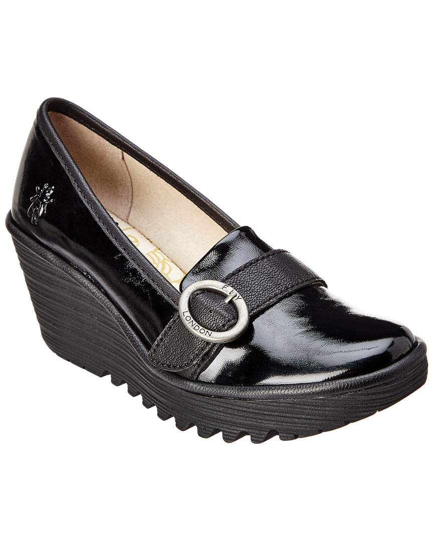 Fly London Womens Yond 771 Black Leather Shoes 37 EU