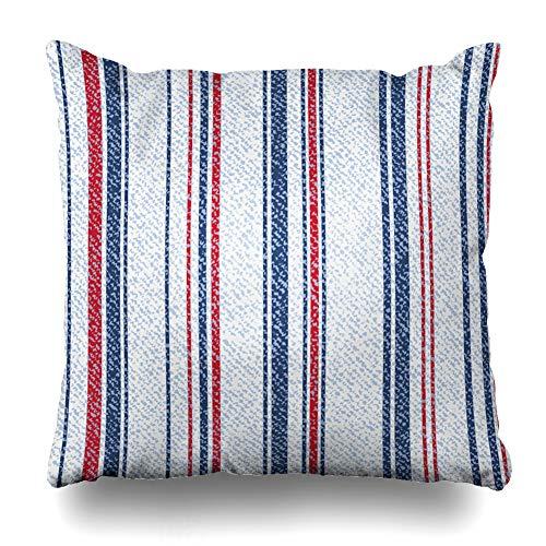 - Ahawoso Throw Pillow Cover Canvas Striped Denim Jeans Geometric Light Blue Stripes Abstract Indigo Classic Color Endless Line Decorative Sofa Cushion Case 18