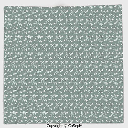 AmaUncle Quick-Dry Square Towel,Spring Meadow Themed Swirled Twigs with Tulips Buds,Highly Absorbent Cleaning(13.77x13.77 inch),Light Sage Green White